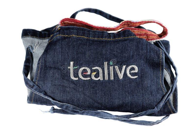 Delantal doblado de Tealive aislado en el fondo blanco foto de archivo