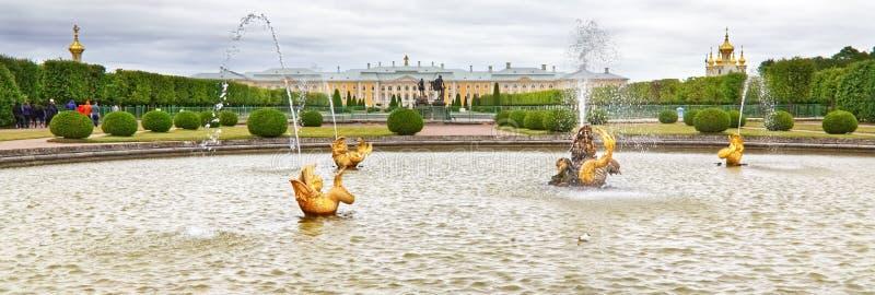 Delante de la fuente del palacio de Peterhof fotografía de archivo libre de regalías