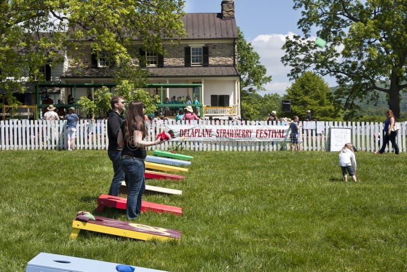 Delaplane,弗吉尼亚,美国5月24日2014年:演奏玉米孔的人们在Delaplane草莓节日在天空草甸国家公园 库存照片
