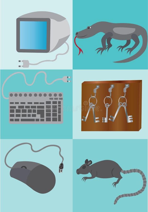 Delar av en dator vektor illustrationer
