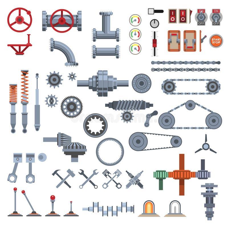 Delar av maskineri royaltyfri illustrationer