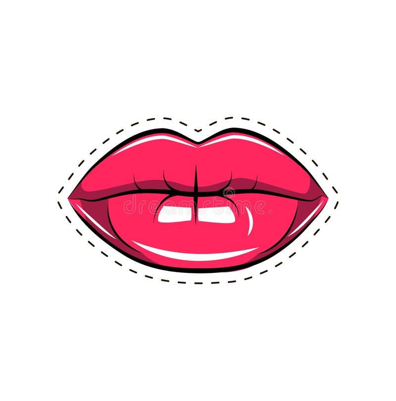 delar för förälskelse för huvuddelkvinnligkanter Skvallra med en kyss, le, sponta, tänder Komisk illustration för vektor i retro  vektor illustrationer
