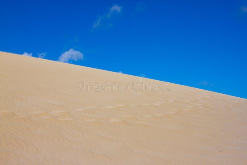 Delat fotografi på två del vid sand och himmel Länder och panoramabakgrund Hållbart ekosystem Gula dyn på royaltyfri bild