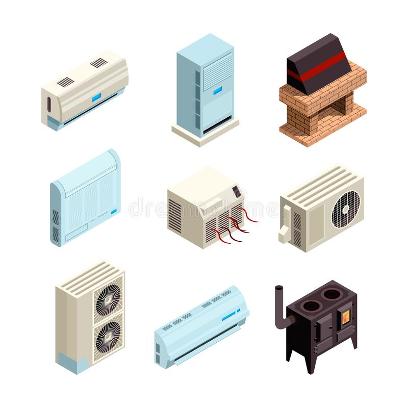 delat system f?r luftkonditioneringsapparatillustration Olika typer för uppvärmning och för kylsystem med isometriska kompressor- vektor illustrationer