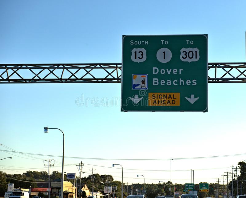 Dover beaches sign delaware state transportation stock photo
