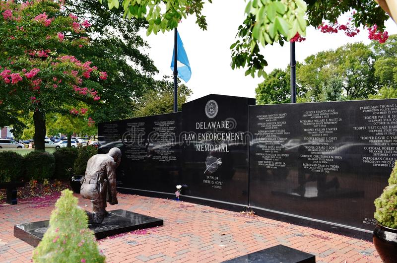 Delaware dover law enforcement memorial. Delaware Law Enforcement Memorial dedicated for those police officers ,who lost their life for peaceful sky of the stock image
