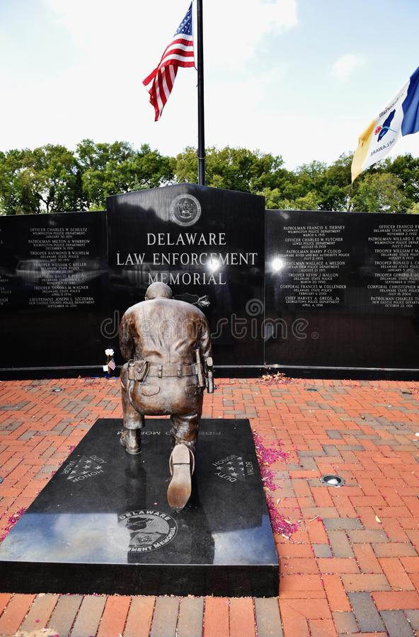 Delaware dover law enforcement memorial. Delaware Law Enforcement Memorial dedicated for those police officers ,who lost their life for peaceful sky of the royalty free stock photography