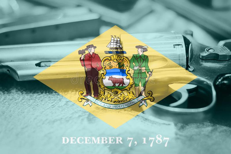 Delaware flag U.S. state Gun Control USA. United States. Gun Laws royalty free stock photos