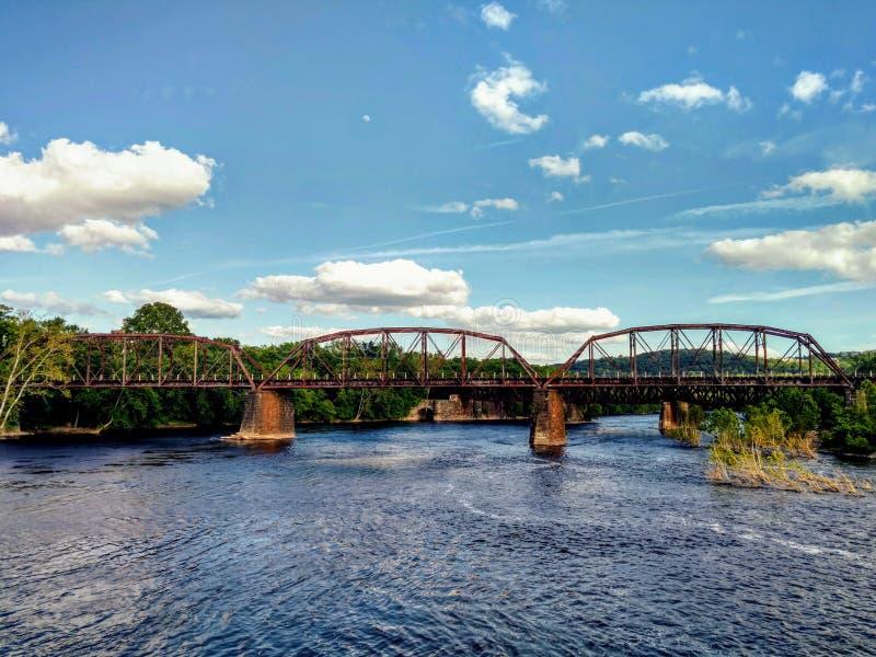 Delaware River bro, Easton, Pennsylvania, USA royaltyfri fotografi