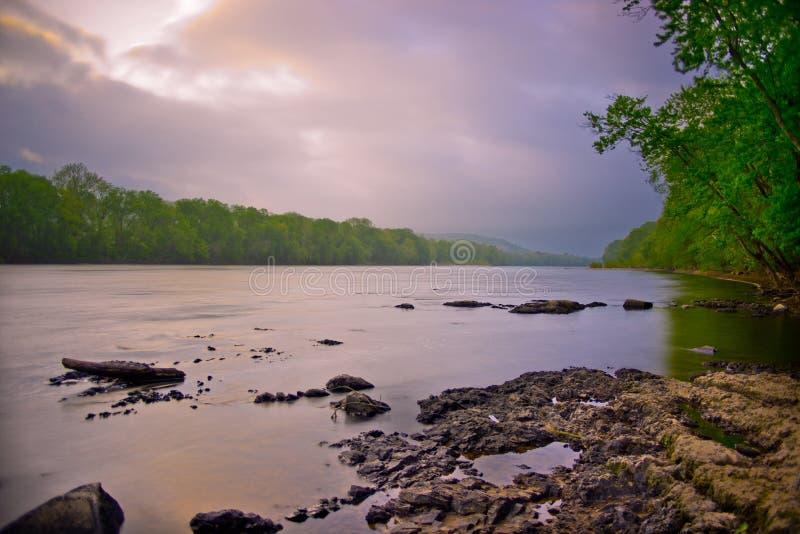 Delaware River på Washington Crossing Park royaltyfria foton