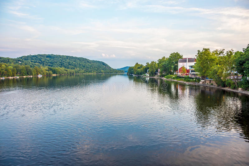 Delaware River View. NEW HOPE, PENNSYLVANIA-AUGUST 29: A scenic view of the Delaware River with the Bucks County Playhouse on the right on August 29 2015 in New stock photo
