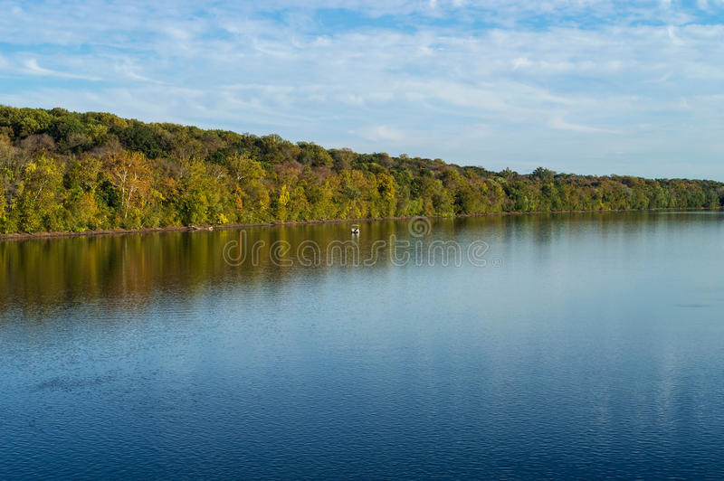 Delaware River View. A scenic view of the Delaware river in early Autumn near Washington Crossing State Park royalty free stock photo