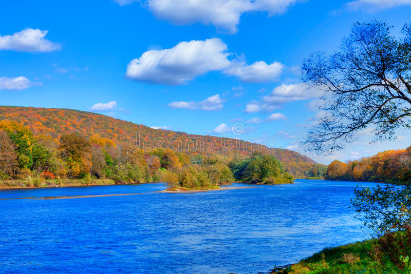 Delaware River. Delaware Water Gap in Autumn with colorful foliage with forest and mountain over river stock photos