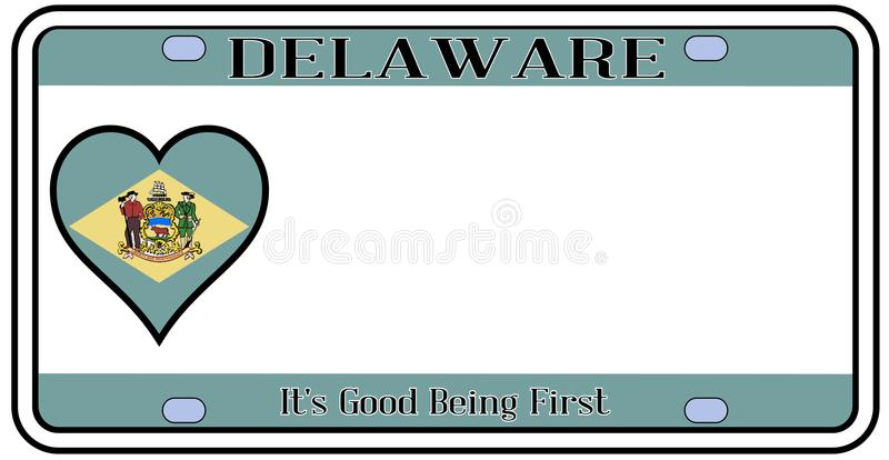 Delaware stanu tablica rejestracyjna royalty ilustracja