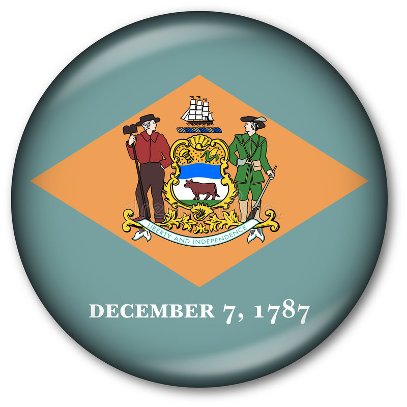 Delaware State Flag Button vector illustration