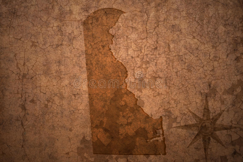 Delaware state map on a old vintage paper background royalty free stock photo