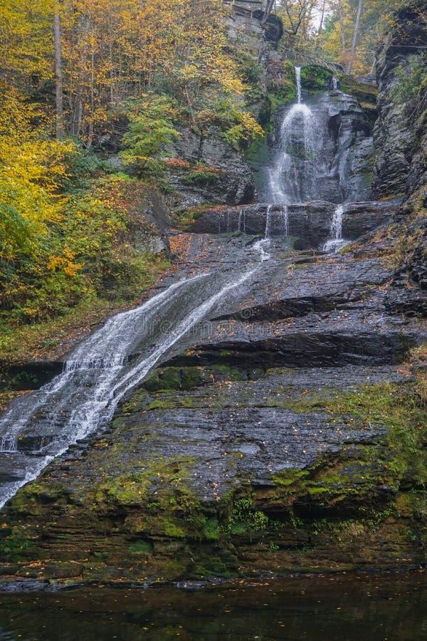 Free Delaware Township, Pike County, Pennsylvania, USA: Autumn Foliage Surrounds Dingman's Falls Royalty Free Stock Image - 177999846