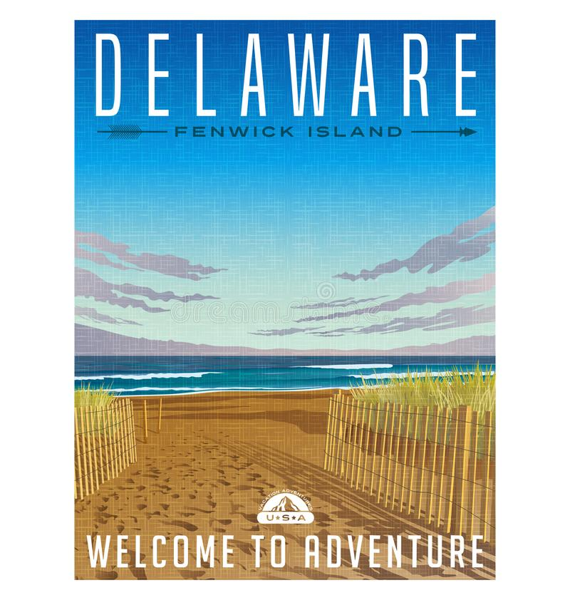 Delaware travel poster of serene beach and Atlantic ocean. vector illustration