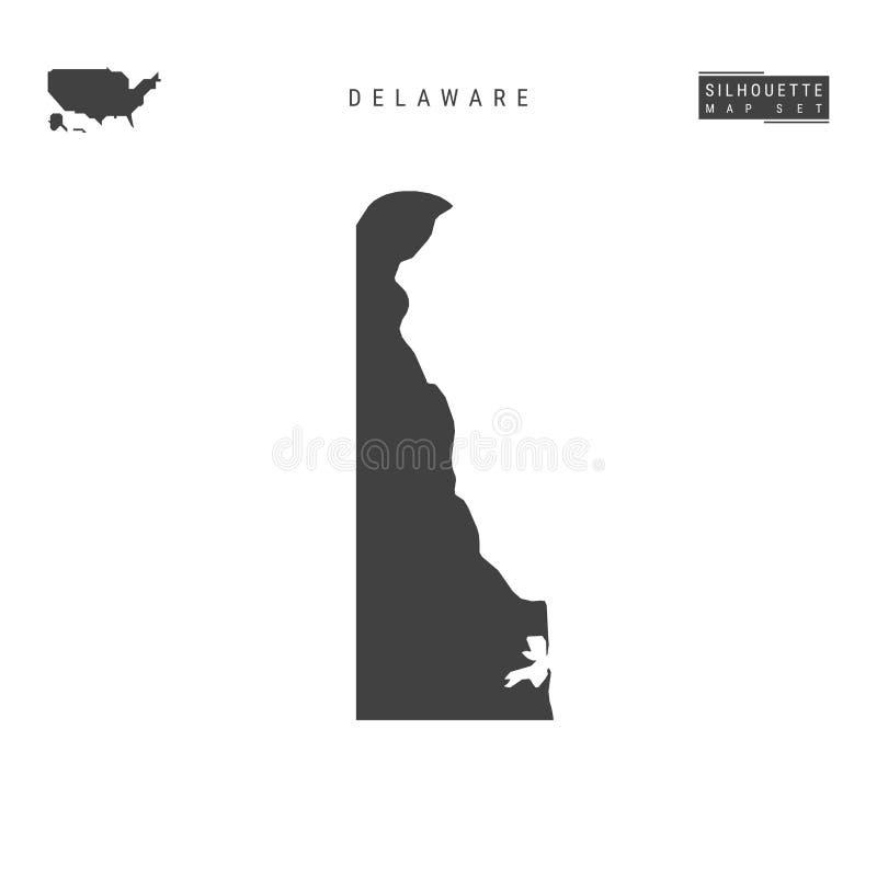 Delaware USA påstår vektoröversikten som isoleras på vit bakgrund Hög-specificerad svart konturöversikt av Delaware royaltyfri illustrationer