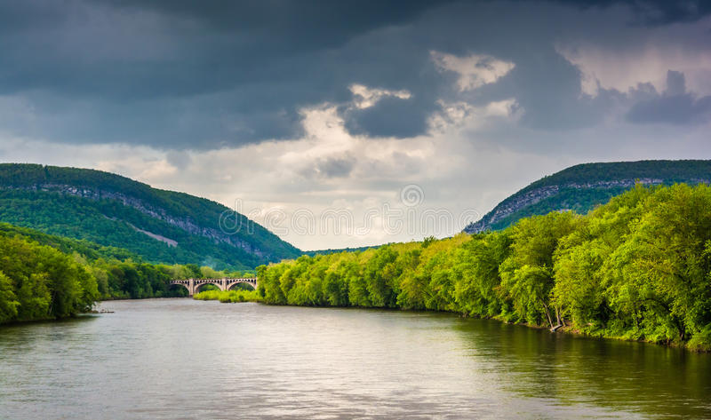 The Delaware Water Gap and the Delaware River seen from from a p. Edestrian bridge in Portland, Pennsylvania stock image