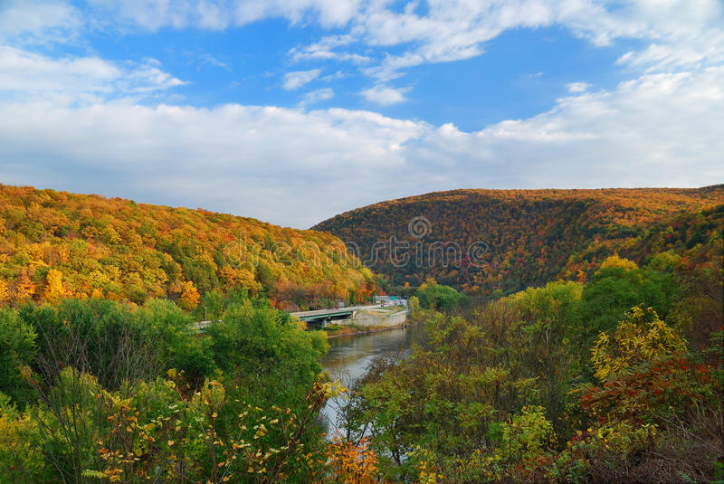 Delaware Water Gap panorama in Autumn royalty free stock photo