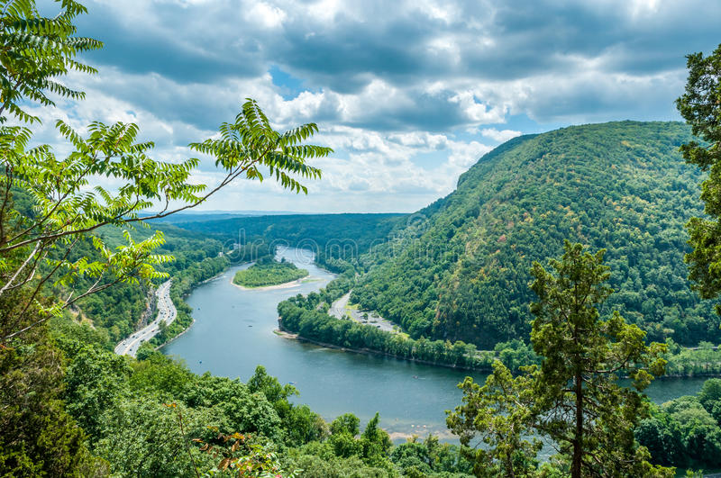 Delaware Water Gap. View from Mt. Tammany, New Jersey side royalty free stock photo