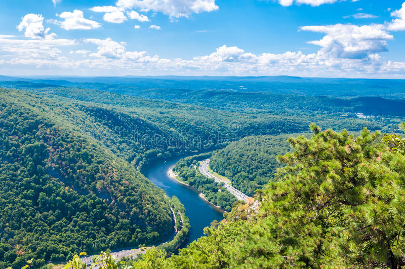 Delaware Water Gap. View from Mt. Tammany, New Jersey side royalty free stock photography