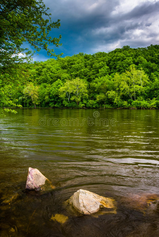 Delawaret River, nord av Easton, Pennsylvania arkivbild