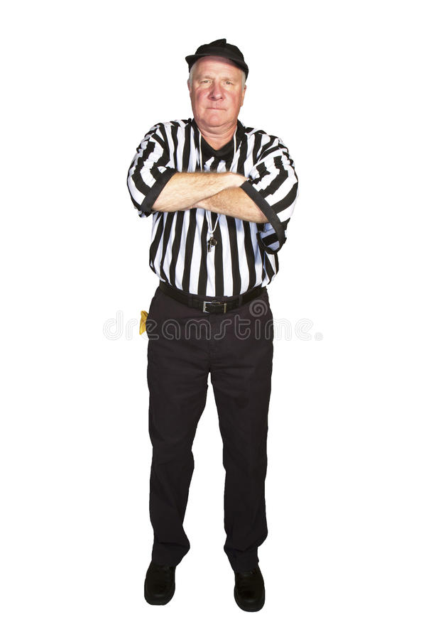 Delay of Game. Man dressed as an NFL referee signaling an American football delay of game foul royalty free stock image