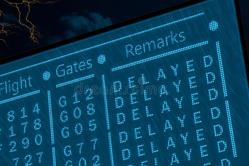 Delayed flights due to bad weather concept. Airport timetable under deep rain with lightnings and dark sky. Dotted pixel monitor stock image