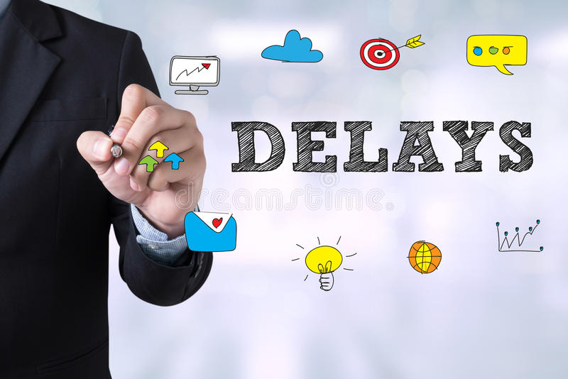 DELAYS. Businessman drawing Landing Page on blurred abstract background stock image