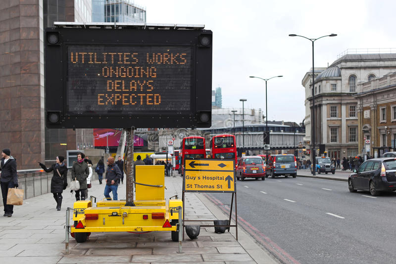 Delays expected. LONDON, UNITED KINGDOM - JANUARY 25: Delays Expected traffic info board in London on JANUARY 25, 2013. Portable Variable Message Sign at stock photo