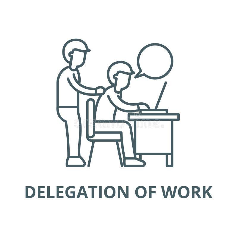 Delegacja pracy linii ikona, wektor Delegacja praca konturu znak, pojęcie symbol, płaska ilustracja ilustracji