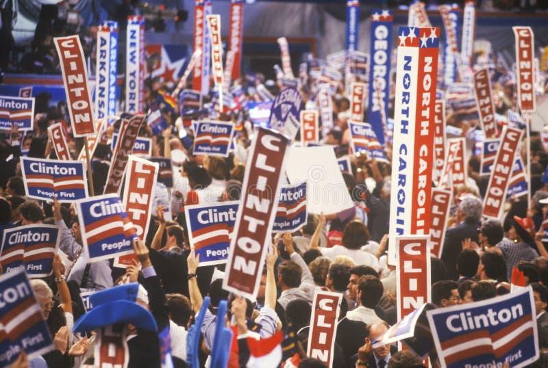 Delegados do estado nas 1992 convenções nacionais Democráticas em Madison Square Garden imagem de stock