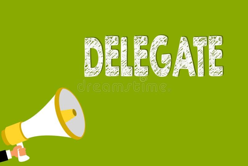 Delegat för ordhandstiltext Affärsidéen för demonstrering som överförs eller bemyndigas, föreställer andra den särskilda konferen stock illustrationer
