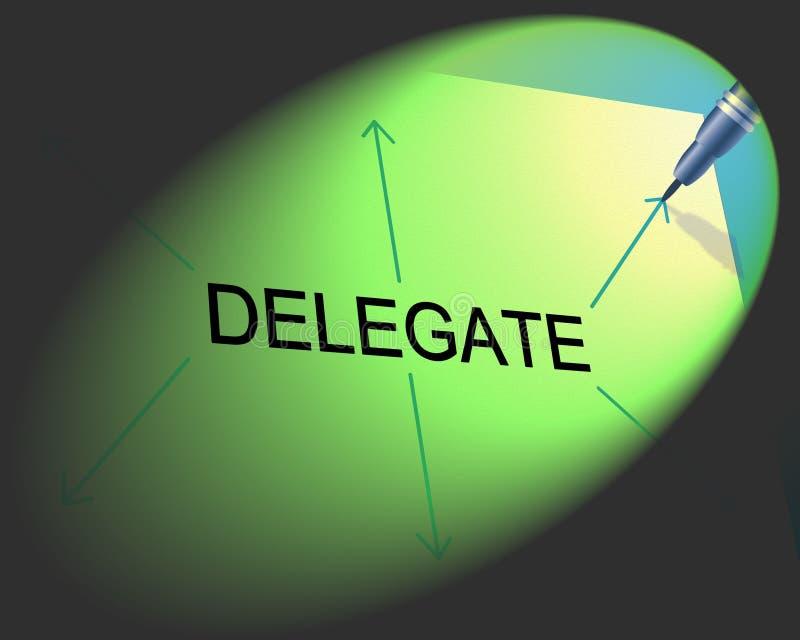 Delegatdelegationen indikerar den uppgiftsledning och assistenten stock illustrationer