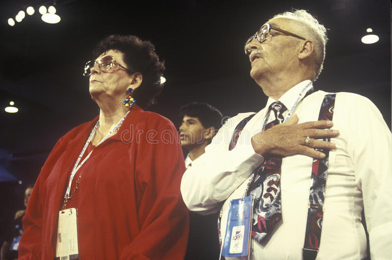 Delegates recite the Pledge of Allegiance. At the Republican National Convention in 1996, San Diego, CA stock photo