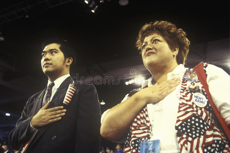 Delegates recite the Pledge of Allegiance. At the Republican National Convention in 1996, San Diego, CA stock photos