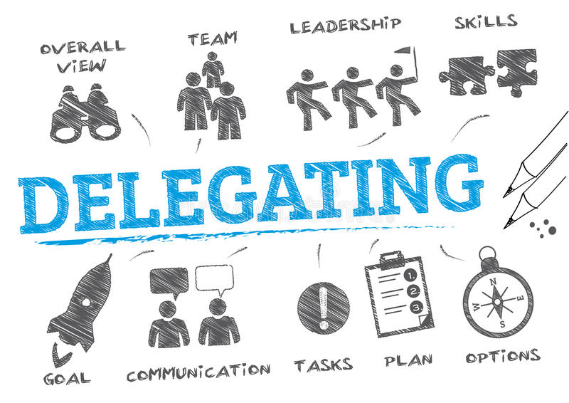 Delegating concept doodle vector illustration