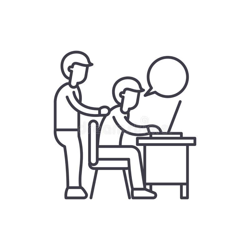Delegation av arbetslinjen symbolsbegrepp Delegation av den linjära illustrationen för arbetsvektor, symbol, tecken stock illustrationer