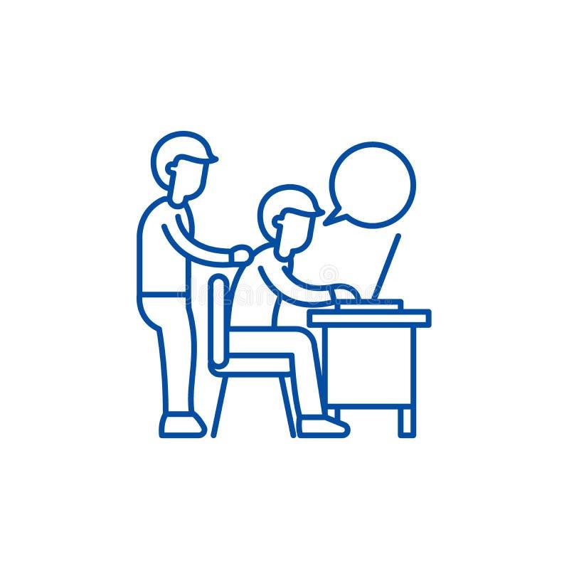 Delegation av arbetslinjen symbolsbegrepp Delegation av det plana vektorsymbolet för arbete, tecken, översiktsillustration royaltyfri illustrationer