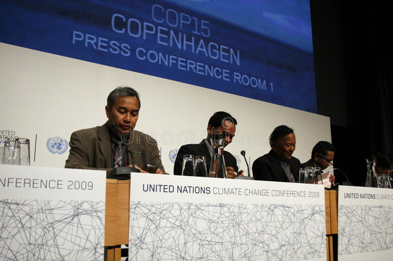 Delegation of Indonesia. At COP15 in Copenhagen, Denmark stock photography