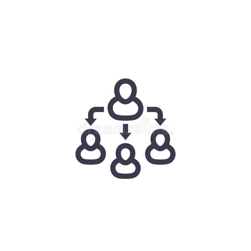 Delegation linjär symbol för lagledning vektor illustrationer