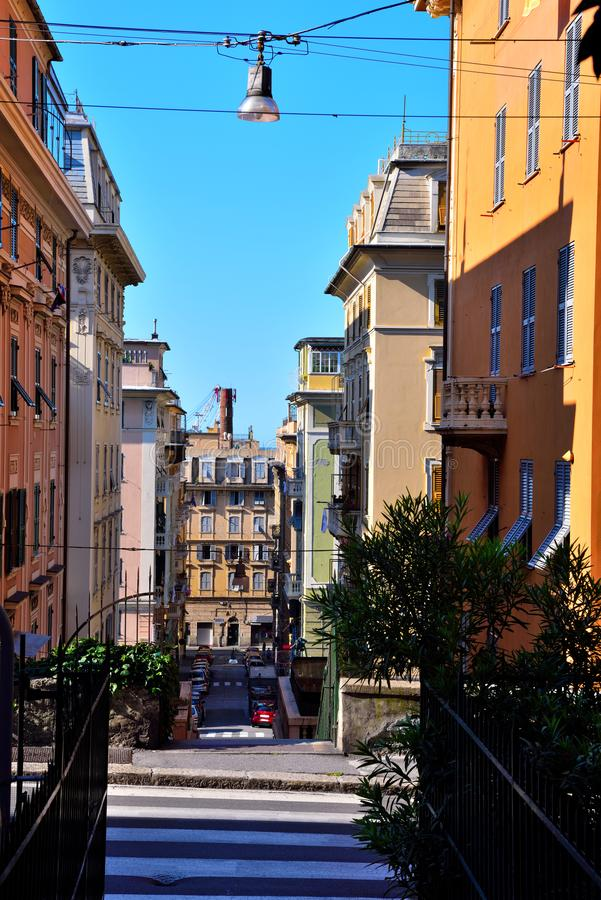 Genoa Italy. Delegation of San Pier d`Arena district of Genoa Italy royalty free stock image