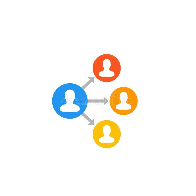 Delegationsymbol på vit vektor illustrationer