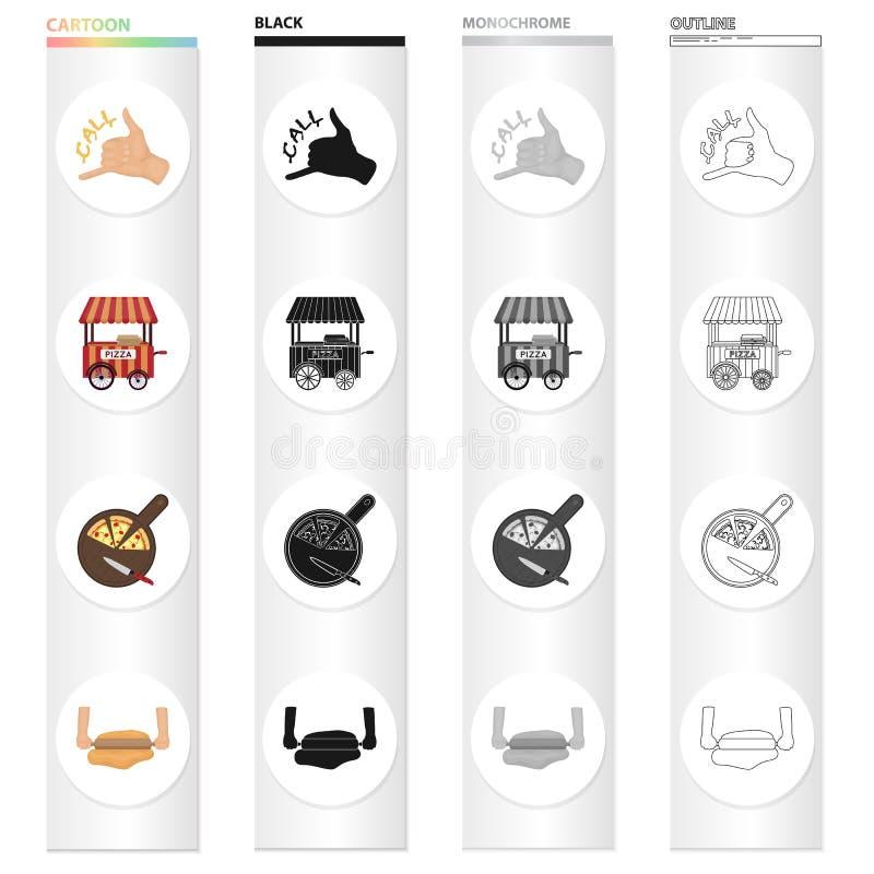 Deleite, café, restaurante e o outro ícone da Web no estilo dos desenhos animados Marquesa, massa, ícones do alimento na coleção  ilustração do vetor