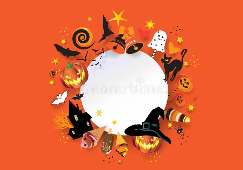 Deleite da festa natalícia de Dia das Bruxas ou convite do truque ilustração do vetor