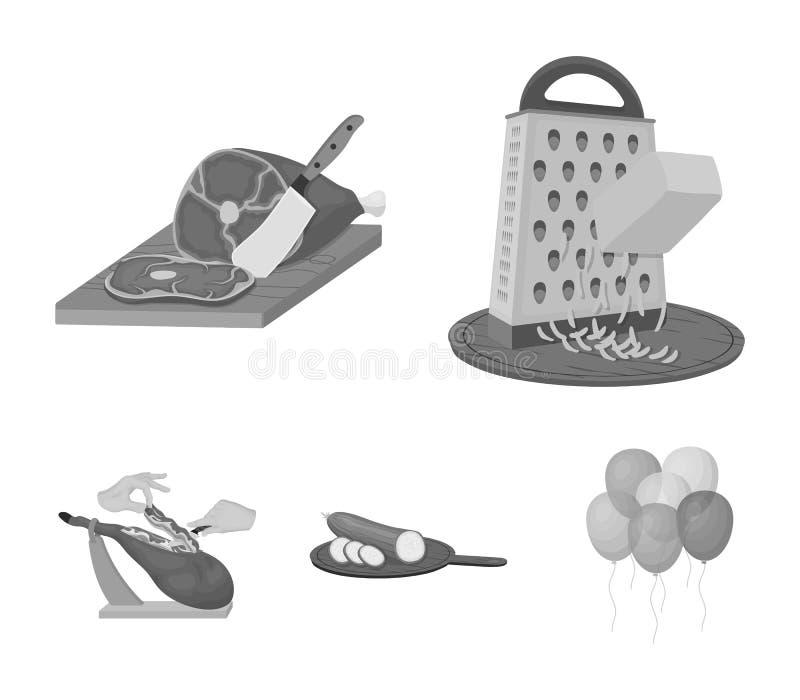 Deleite, dispositivo, ferramenta e o outro ícone da Web no estilo monocromático o cozinheiro, dona de casa, entrega ícones na col ilustração stock