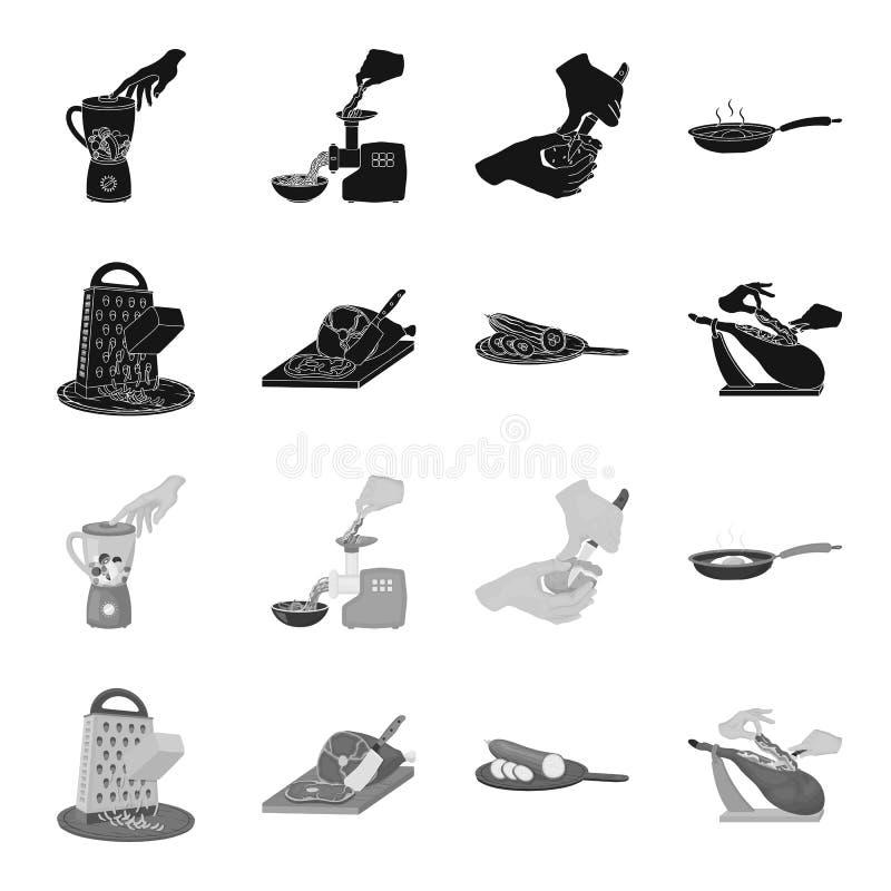 Deleite, dispositivo, ferramenta e o outro ícone da Web no estilo preto, monocromático o cozinheiro, dona de casa, entrega ícones ilustração stock