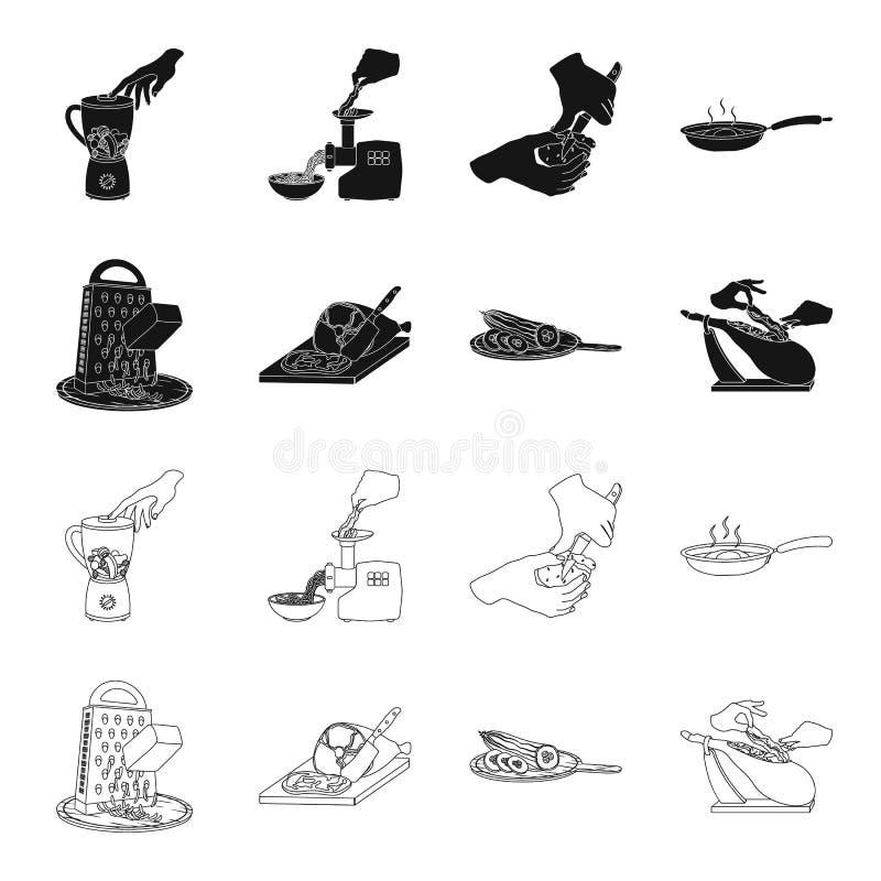 Deleite, dispositivo, ferramenta e o outro ícone da Web no preto, estilo do esboço o cozinheiro, dona de casa, entrega ícones na  ilustração royalty free